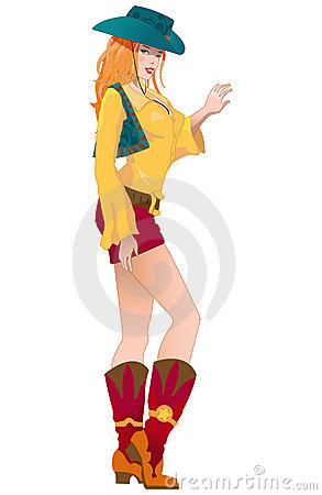 Isolate red young cartoon cowboy s girl