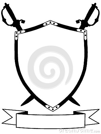 Isolated 16th Century Shield Swords and Banner