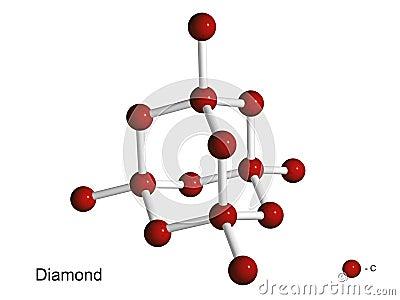 Isolated 3D model of a crystal lattice of diamond