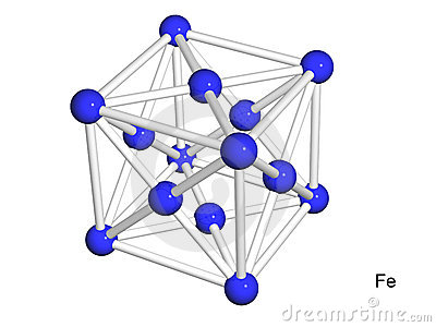 Isolated 3D model of a crystal lattice of iron