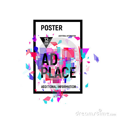 Free Isolated Abstract Colorful Broken Glass Explosion In Rectangular Frame, Ad Place Poster In Pink Shades,geometric Stock Image - 89984571