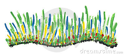 Isolated abstract painted grass