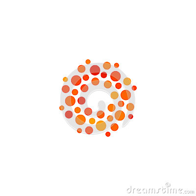 Free Isolated Abstract Round Shape Orange And Red Color Logo, Dotted Stylized Sun Logotype On White Background Vector Royalty Free Stock Photography - 94575667