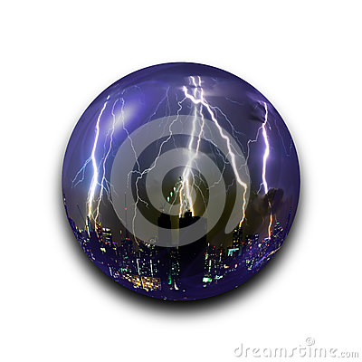 Free Isolated Abstract Thunder Storm Lightning Bolt In The Glass Ball On Black Background With Clipping Path Royalty Free Stock Photo - 77559495