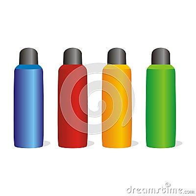 Isolated aluminum bottles set