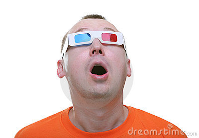 Isolated amazed young man with 3d anaglyph glasses