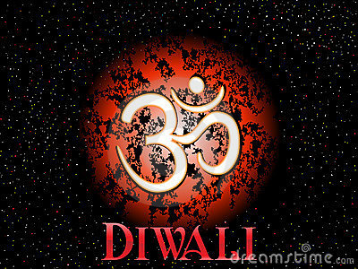 Isolated aum concept greeting card for diwali