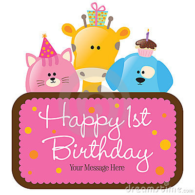 Free Isolated Baby Animals With First Birthday Sign Royalty Free Stock Photos - 9083248