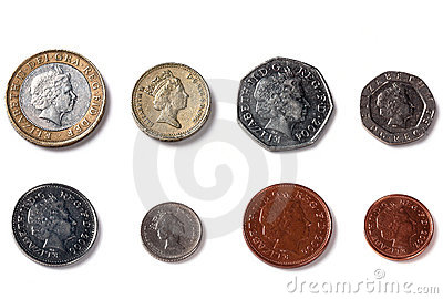 Isolated Back facing coins of United Kingdom