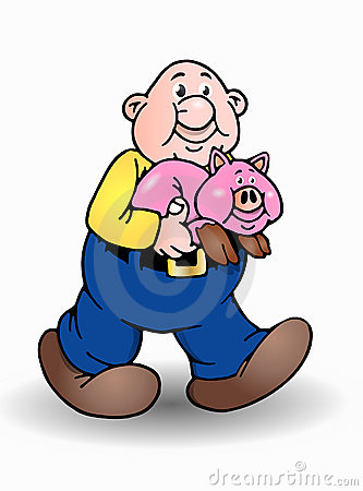 Isolated bald man and pig