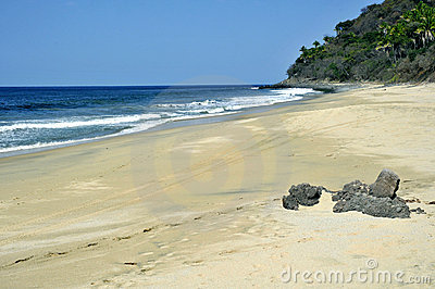 Isolated beach on the pacific coast of Mexico