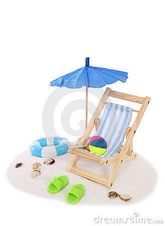 Isolated Beach with Umbrella and Chair