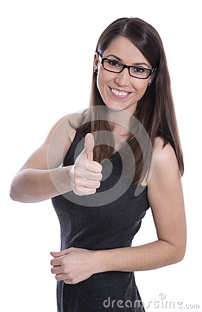 Isolated beautiful young woman with glasses and thumbs up