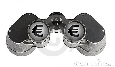 Isolated binoculars with money