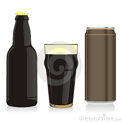 isolated black beer bottle, glass and can
