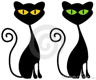 Isolated Black Cats Clip Art