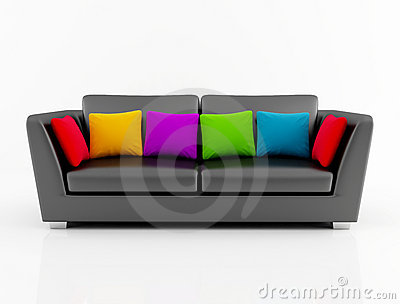 Isolated black couch with colored pillow