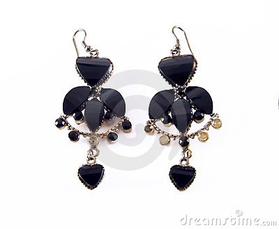 Isolated black earrings
