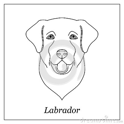 Free Isolated Black Outline Head Of Happy Labrador Retriever On White Background. Line Cartoon Breed Dog Portrait. Royalty Free Stock Photography - 94503107
