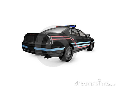 Isolated black police car back