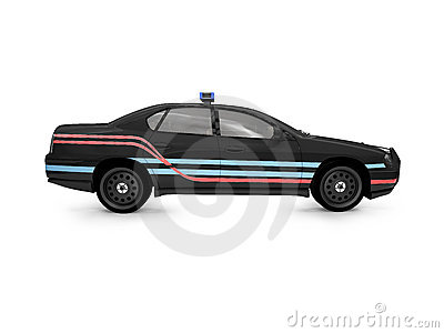 Isolated black police car side