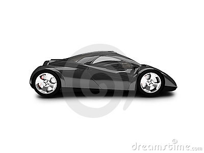 Isolated black super car side