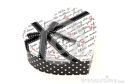 Isolated black and white holiday gift box in hear