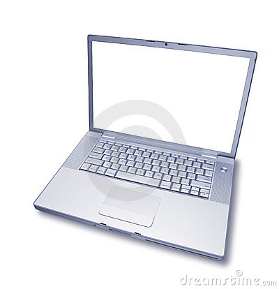 Isolated Blank Laptop Computer