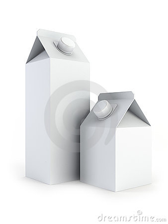 Isolated blank milk boxes