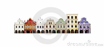 Isolated bloc of historic houses