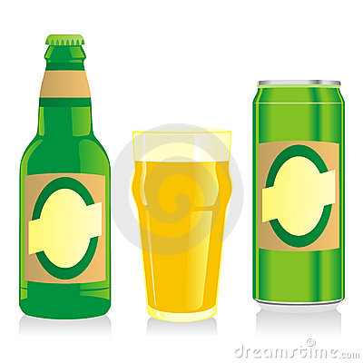 Isolated blonde beer bottle, glass and can