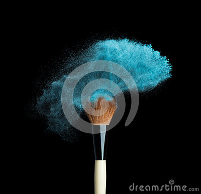 Free Isolated Blue Make-up Powder With Brush On Black Stock Image - 51831791
