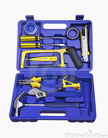 Free Isolated Blue Plastic Tool Box Royalty Free Stock Images - 19366129