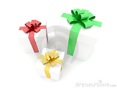 Isolated boxes with gifts