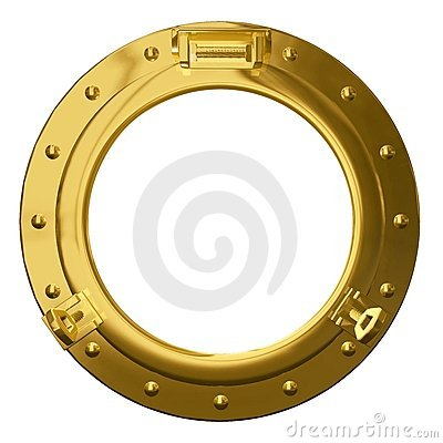 Isolated brass porthole
