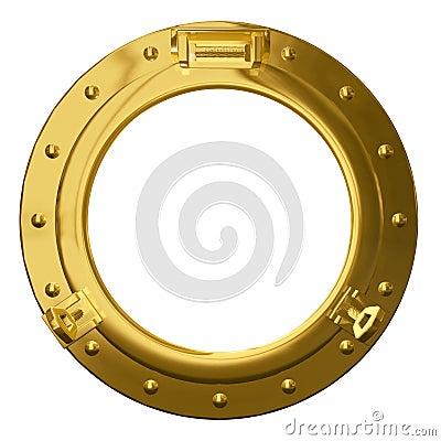 Isolated brass porthole