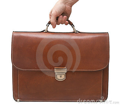Isolated brown leather briefcase