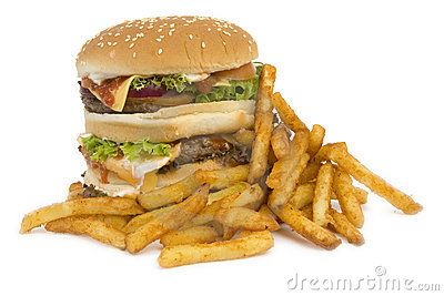 Isolated burger with fries