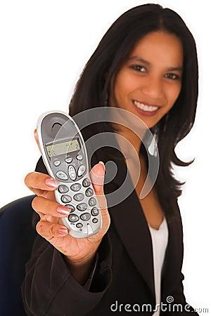 Isolated Businesswoman holding telephone