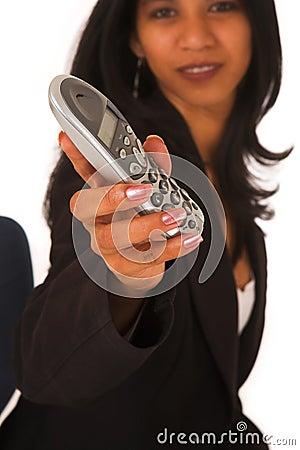 Free Isolated Businesswoman Holding Telephone Stock Image - 1941691