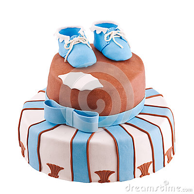Free Isolated Cake With Baby Bootee Stock Image - 28576401