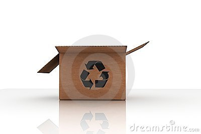 Isolated cardboard with recycle symbol