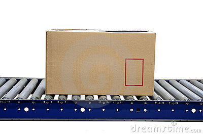 Isolated carton on conveyor rollers