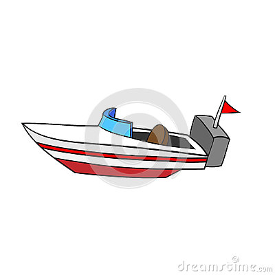 Isolated Cartoon Speed Boat. Vector Illustration