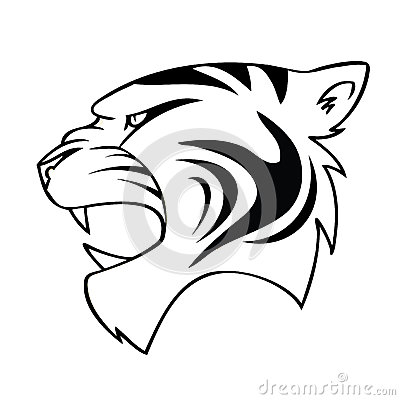 Isolated cartoon tiger head