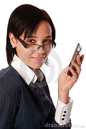 Isolated caucasian business woman with cell phone