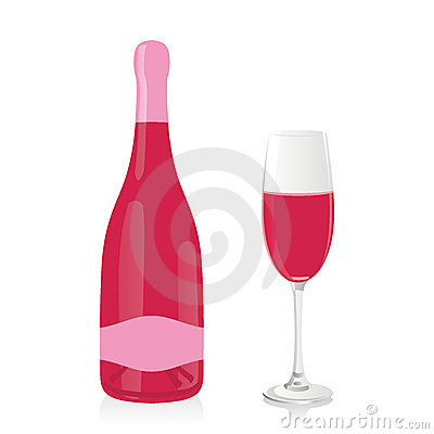 Isolated champagne glass and bottle