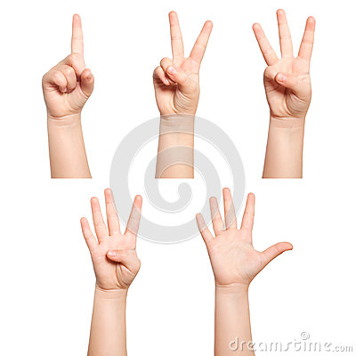 Free Isolated Children Hands Show The Number One Two Three Four Five Royalty Free Stock Photography - 37187807