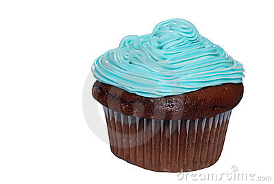 Isolated Chocolate cupcake with blue frosting