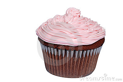 Isolated chocolate cupcake with pink frosting